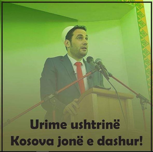"""Hoxhë Elvis Naçi nga hutbeja me plis në kokë """"Urime Kosova jonë e dashur"""" (FOTO)"""