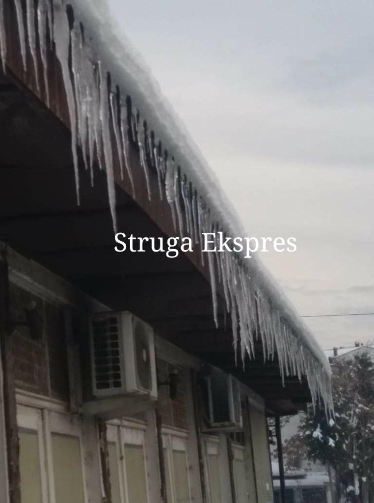 Kujdes të keni nga akulli kur të kaloni edhe afër këtij marketi të Strugës (FOTO)