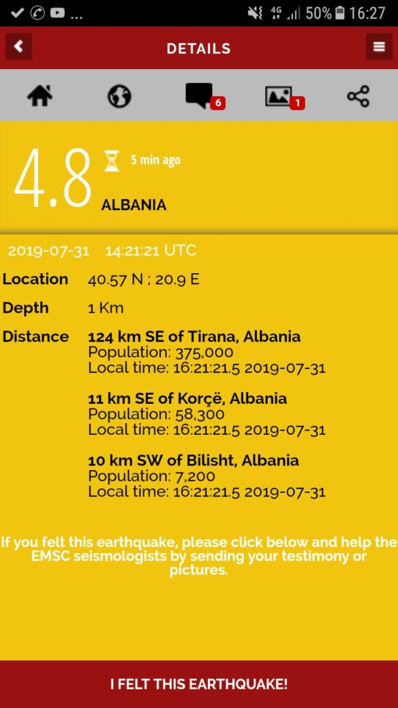 Lajmi i fundit: Tërmet i fortë në Korçë (FOTO)