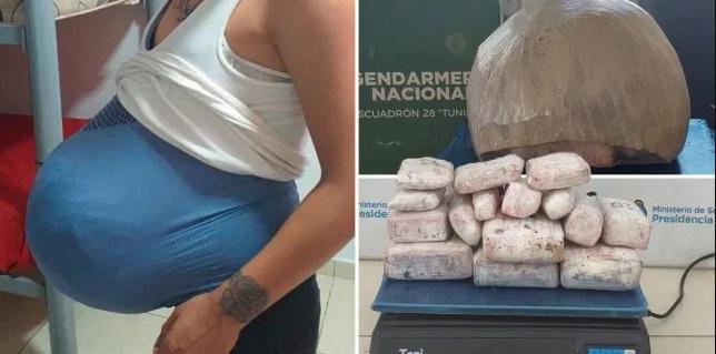 Shtiret sikur është shtatzënë, por brenda barkut të rremë i gjenden 15 pako marijuanë (FOTO)