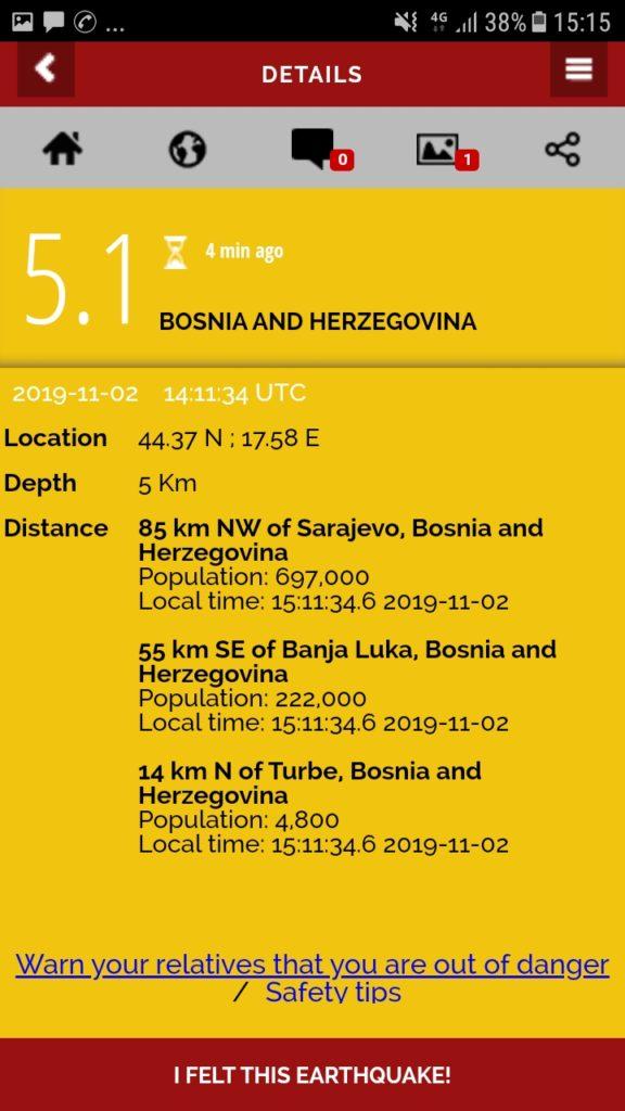 Lajmi i fundit: Bosnja goditet fort nga tërmeti, 5.1 ballë