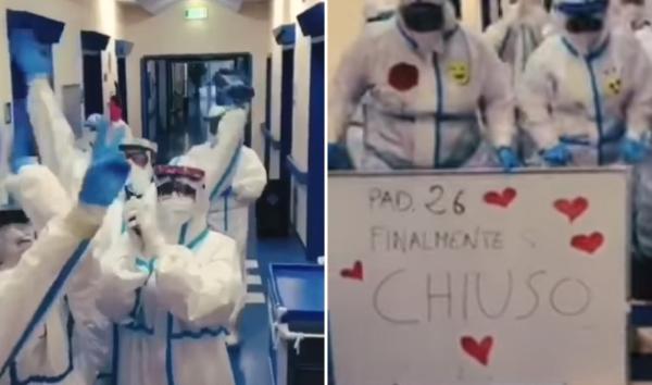 (VIDEO) Lot gëzimi te mjekët, spitali në Itali mbyll pavijonin e të sëmurëve me COVID-19