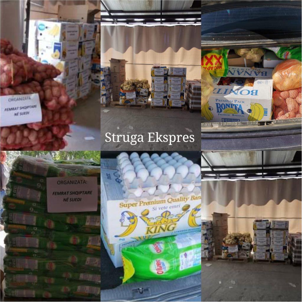 """Organizata """"Femrat shqiptare"""" në Suedi, shpërndajnë 40 paketa ushqimore për familjet nevojtare në Strugë (FOTO)"""