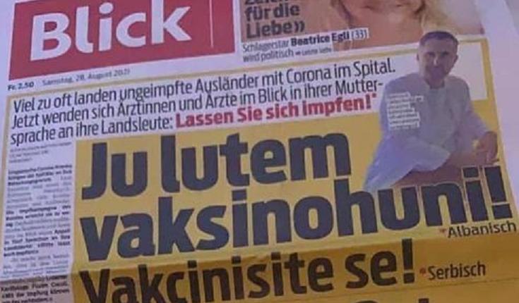 Gazeta zvicerane drejtuar shqiptarëve: Ju lutem vaksinohuni